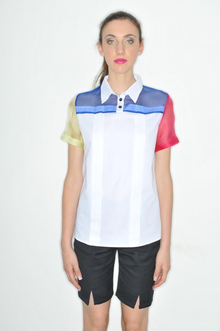 Plexi Polo_ HanselGretel Poplin Cotton and Silk Organza Polo Shirt