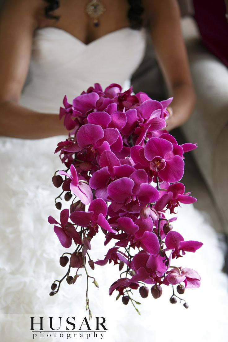 Beautiful Cascade Orchid bouquet in Radiant Orchid tone