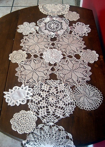 doily tablecloth... I'd like it narrower though.