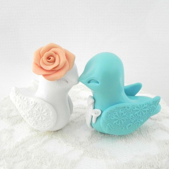 Love Bird Wedding Cake Topper Tiffany Blue Peach and by LavaGifts, $62.00