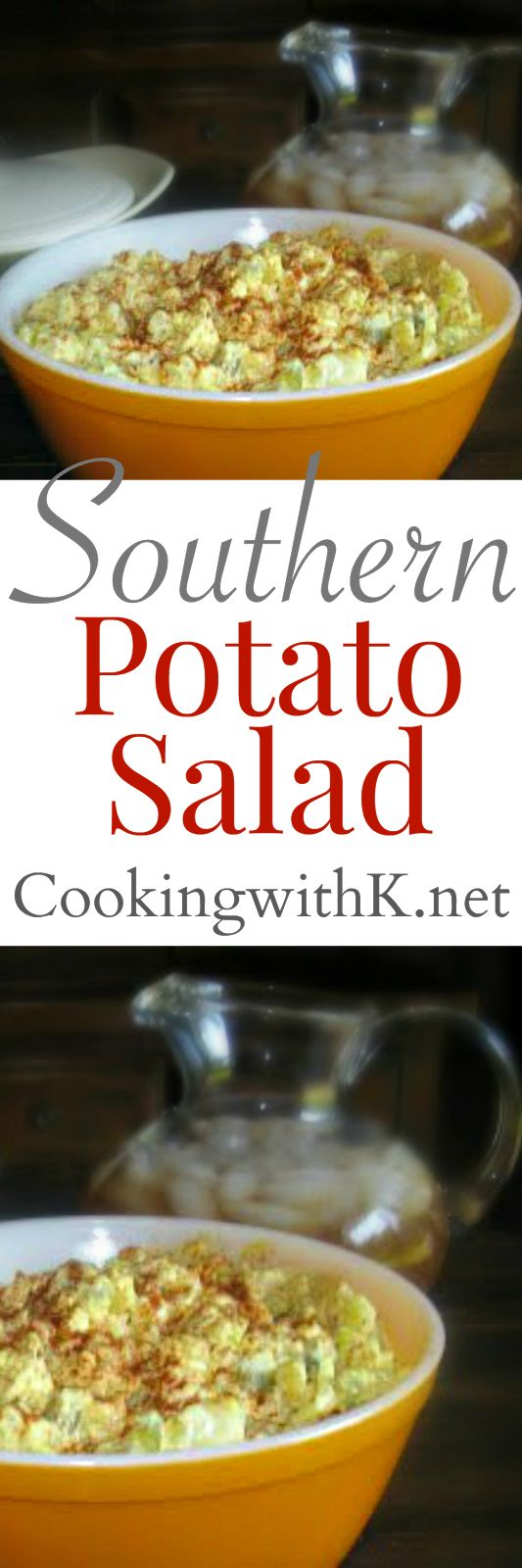 Mama's Southern Style Potato Salad family gatherings are not the same without Mama's potato salad, cubed potatoes, chopped onions, chopped dill pickles, chopped boiled eggs and mayonnaise with a little mustard.