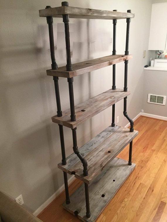 Huge Freestanding Pipe Shelves 6 1 2 Ft Tall Industrial Style Shelving Bookshelf Display Shelf Steampunk In 2018
