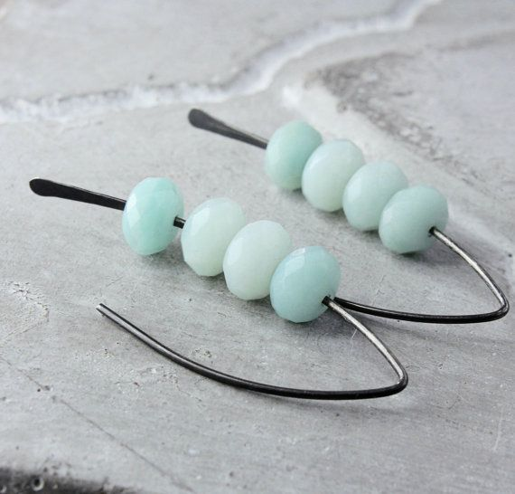 Blue Amazonite  Earrings Oxidized Sterling Silver by Hildes
