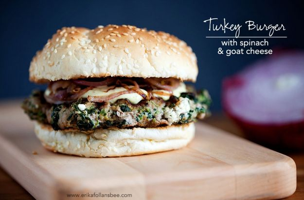 Turkey Burger with Spinach and Goat Cheese | 25 Delicious Dinners You Can Make With Ground Beef Or Turkey