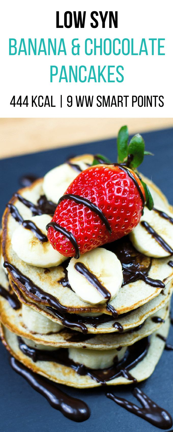 Low Syn Banana and Chocolate Pancakes | Slimming World | 444Kcal | 9 Weight Watchers Smart Points | pinchofnom.com