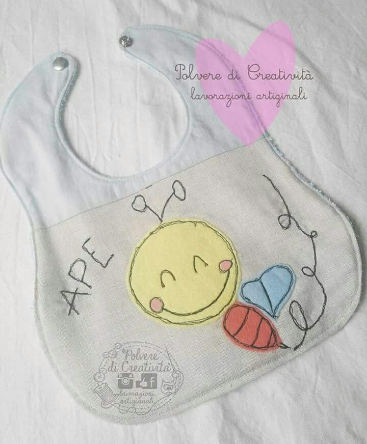 Bavetta baby double face 😊  #embrodery #handmade #bebe #baby #freehand