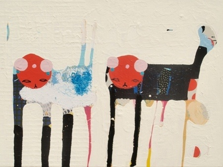 Kate McCarthy    Not the Bunnies - 2012    Acrylic enamel, watercolour pencil + oil on canvas    60 x 40 cm