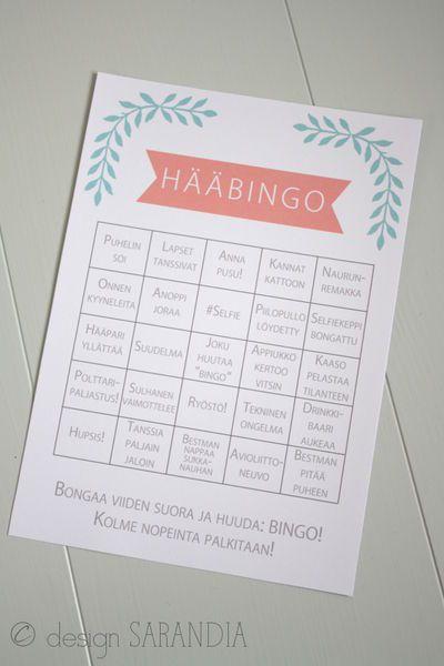 Hääbingo  Wedding bingo Tilaa omasi Sarandiasta! http://www.sarandia.fi/product/41/haabingo-olivia
