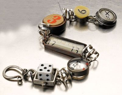 Michaels DIY Industrial Chic™ Train Bracelet..  Create your own talisman piece using Industrial Chic™ found object jewelry components by Susan Lenart Kazmer. Designed by Susan Lenart Kazmer and Linda Larsen for Horizon Group USA
