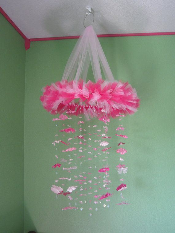 tulle baby mobiles pictures | Pink Baby Crib Mobile with Silk Flowers and by BairBoutique
