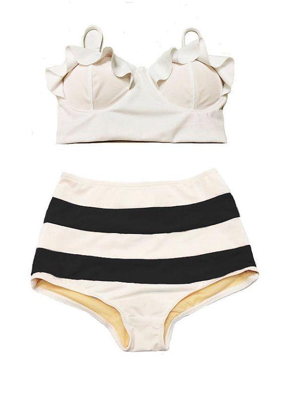 ruffled bikini top and striped high-waisted bottoms