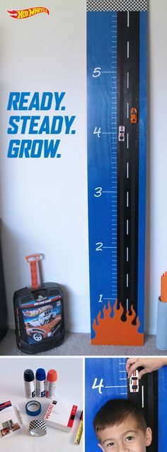 Track the growth of your Hot Wheels kids with a racer's take on a DIY growth chart. It looks totally amazing but is so simple to make. Learn how to make one yourself with step-by-step instructions here.