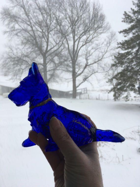 Cobalt glass Scottish Terrier by L E Smith by BarnshopAntiques