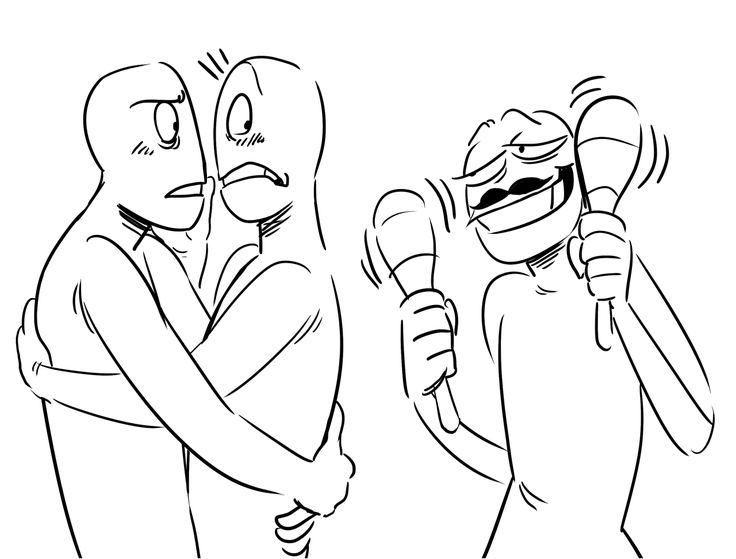 DRAW THE SQUAD third-wheel edition << I'd be the one with the maracas, and my cousin and ex-girlfriend (whom I both hang out with frequently) are the couple. I feel like this a lot.