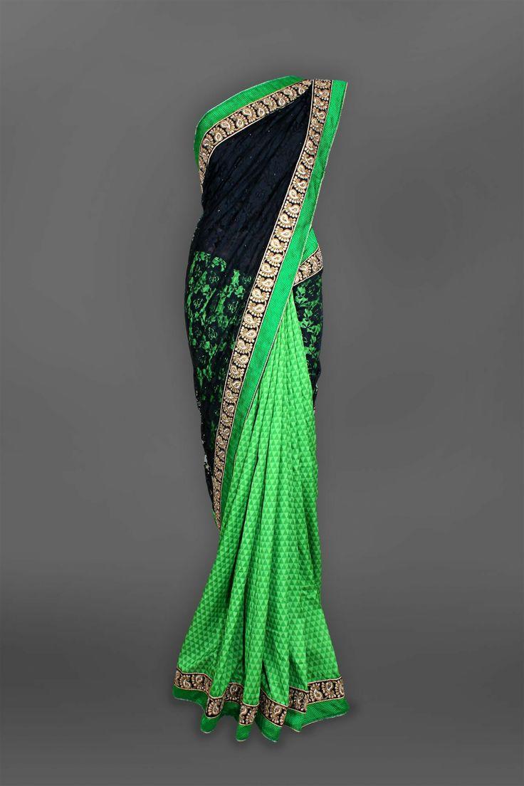 Black & Green Lace Sari