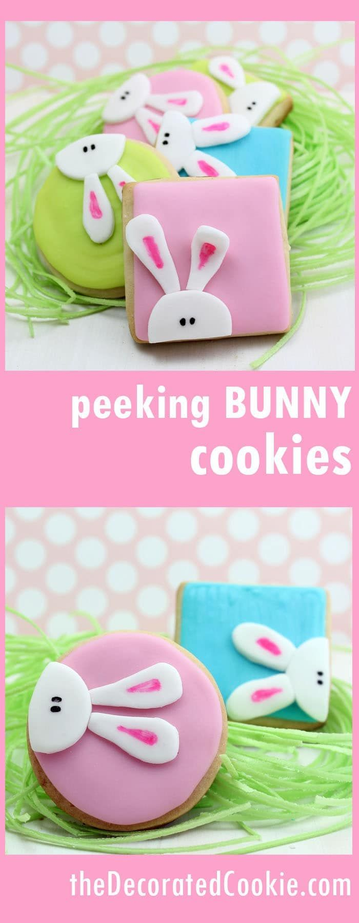 How to decorate peeking bunny Easter cookies. #Easter #bunny #Cookies