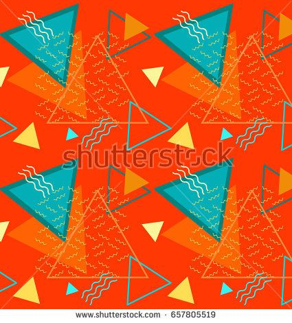 Seamless color summer pattern with pineapple and banana, geometr