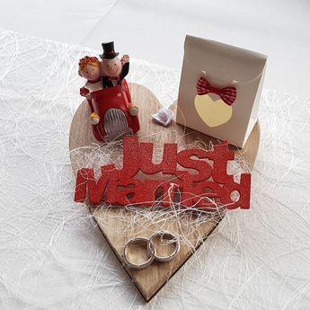 Geldgeschenk Hochzeit rot Just Married Eheringe Hochzeitsgeschenk | eBay