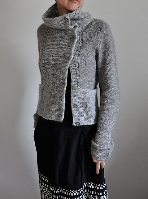 asymmetric cardigan.  with cowl and pockets. perfect in gray.  mrs. garter.  by ankestrick.