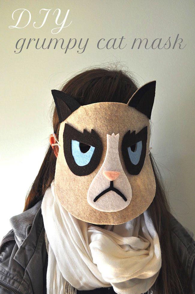 Last Minute Halloween costume | DIY Grumpy Cat Mask