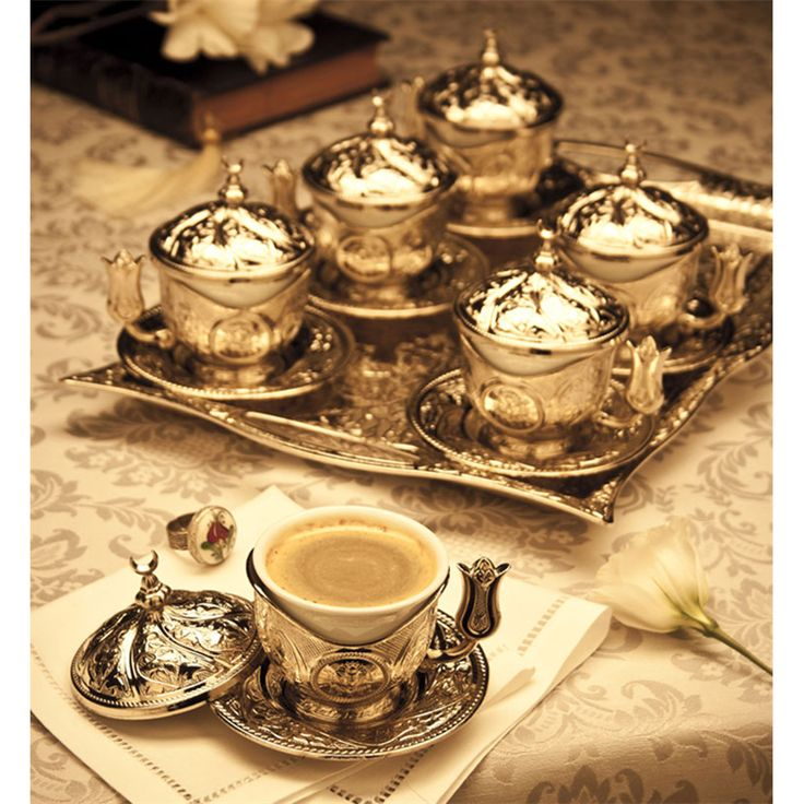 Hediyelik Gümüş Renk Dikdörtgen Tepsili Tiryaki Kahve Takımı