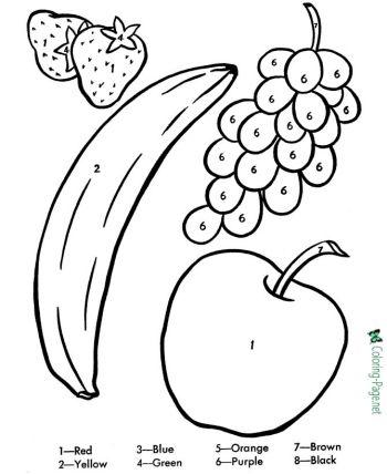 color by number printable worksheets Printables Fruit