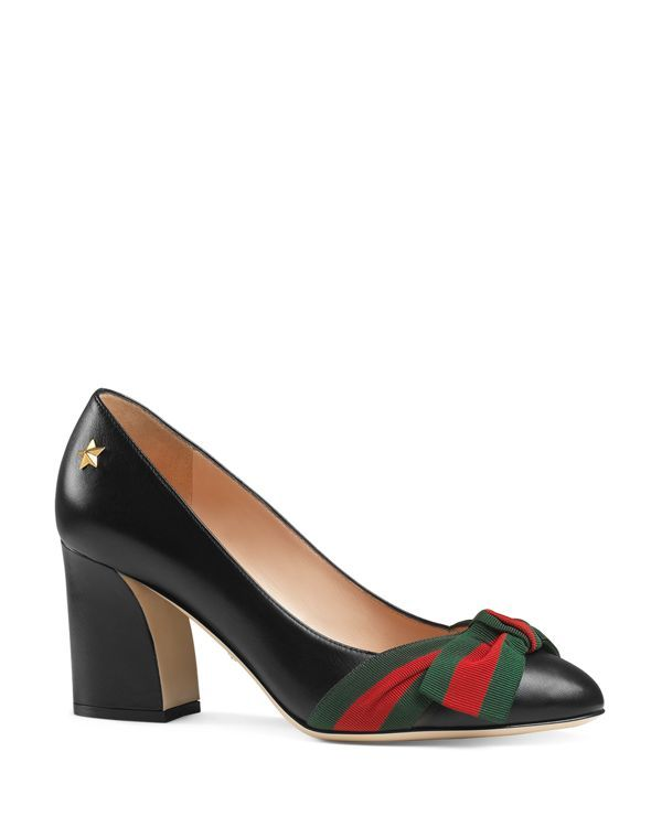 Gucci Aline Block Heel Pumps  | Leather upper, leather lining, leather sole…