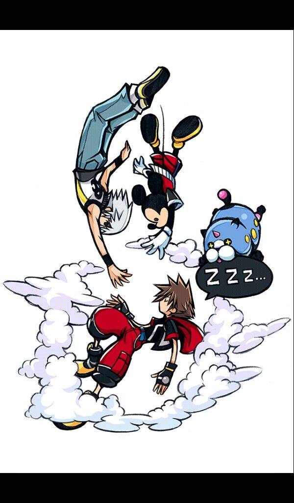 Key art khux  Riku, Mickey, Meow Wow, and Sora
