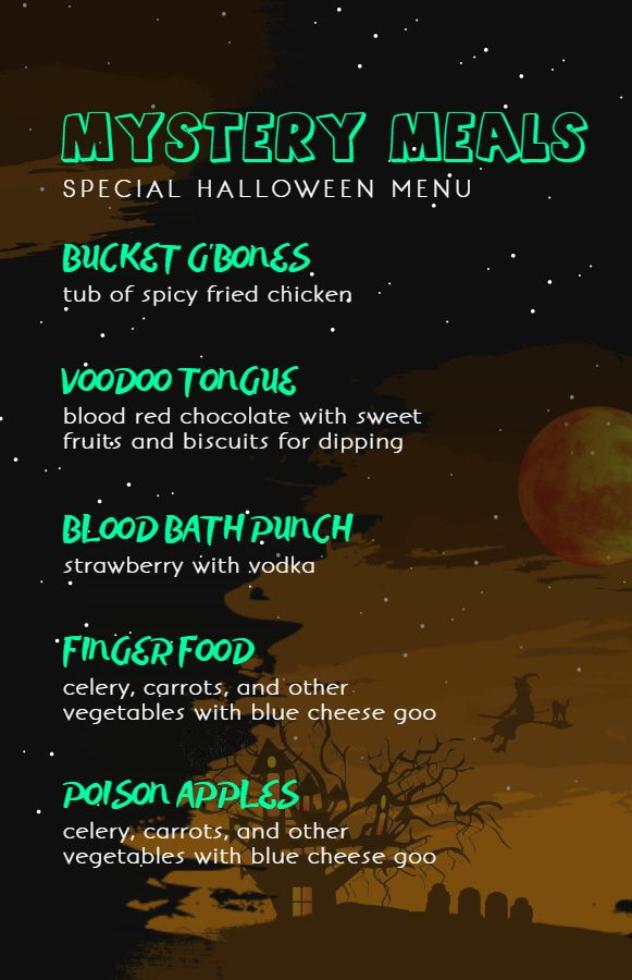 halloween kids menu card design template halloween menu templates