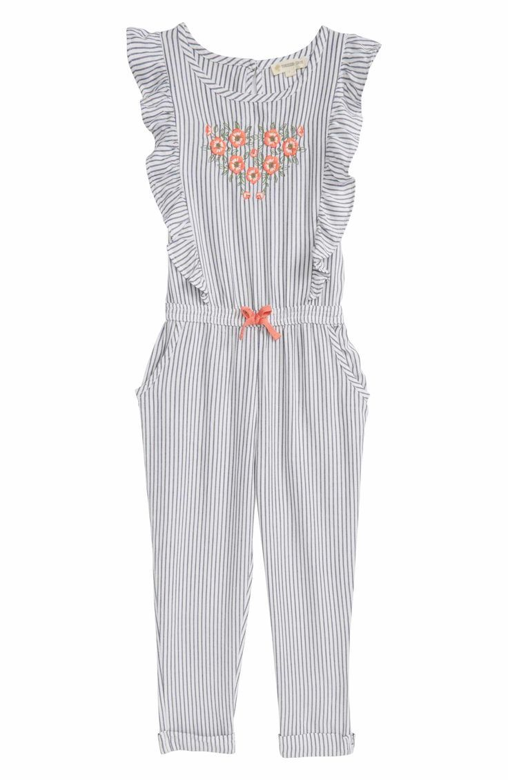 5a8bebe91b9 Main Image - Tucker + Tate Flutter Sleeve Embroidered Romper (Toddler  Girls