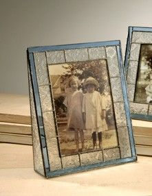 Stained Glass Vertical Blue Picture Frame