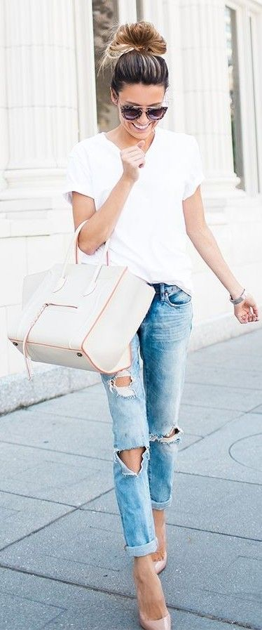 Distressed Jeans and White Tee | Hello Fashion Blog