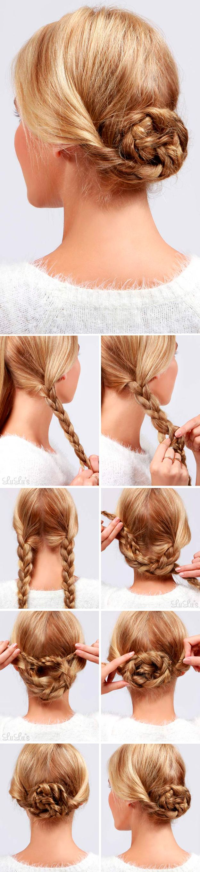 Фото-уроки причесок на первое сентября: низкий пучок из кос