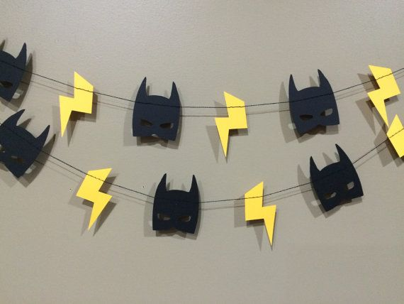 Batman Mask & Lightening Bolt Garland 3 FT 6 FT 8FT by RadPaperCo