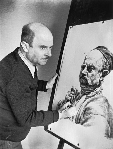 Herbert Sonnenfeld - Ludwig Meidner (1884-1966) bei der Arbeit an einem Selbstporträt, Fotografie (s/w-Negativfilm), Berlin 1934