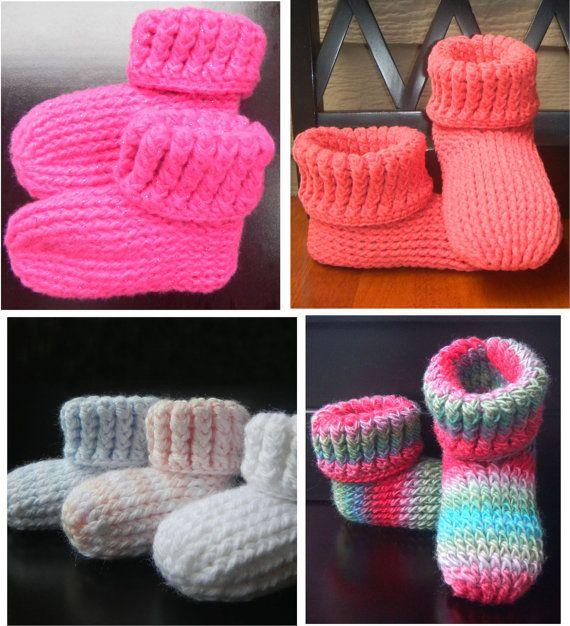 CROCHET PATTERN Knit Look Slipper Boots Trio - 3 Patterns ...