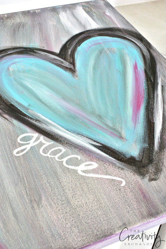 diy abstract heart painting and a fun paint party - Fun Pictures To Paint