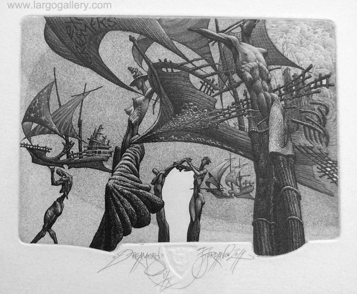"http://www.largogallery.com/ Julian Jordanov, ""Dreamers"", etching, paper, 10/13"