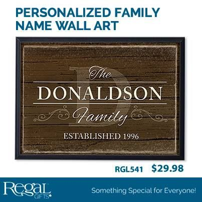 """PERSONALIZED FAMILY NAME WALL ART Proudly display your family pride with this personalized plaque. Built-in groove for hanging. Personalization: Family name, up to 12 characters, Date, up to 4 characters. (""""The"""" """"Family"""" & """"Established"""" are pre-printed). 11-1/2""""H x 16""""W"""