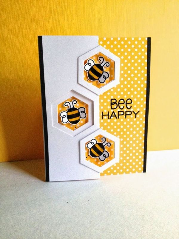 Card critters bee bees bee happy hexagon honeycomb I'm in Haven: CAS·ology 97...BEE by colleen