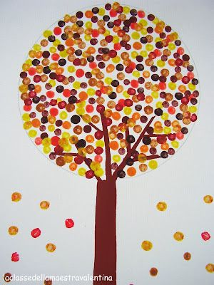 Fall Q-tip craft: I just did this with my 3rd graders today to teach them about Seurat and pointillism! We used primary colors for the leaves and painted with Qtips. Then they chose contrasting markers to make a neutral bark color. They were so excited to see new colors form without any mixing!