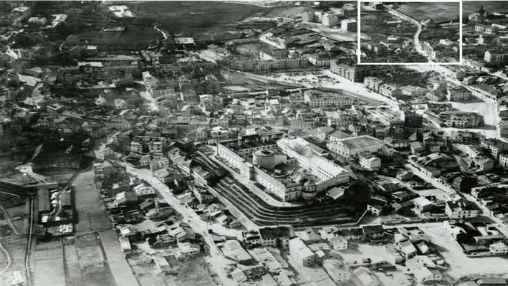 Panorama Lublina, lata 30. Zaznaczony fragment - ulica Bonifraterska (obecnie Biernackiego)