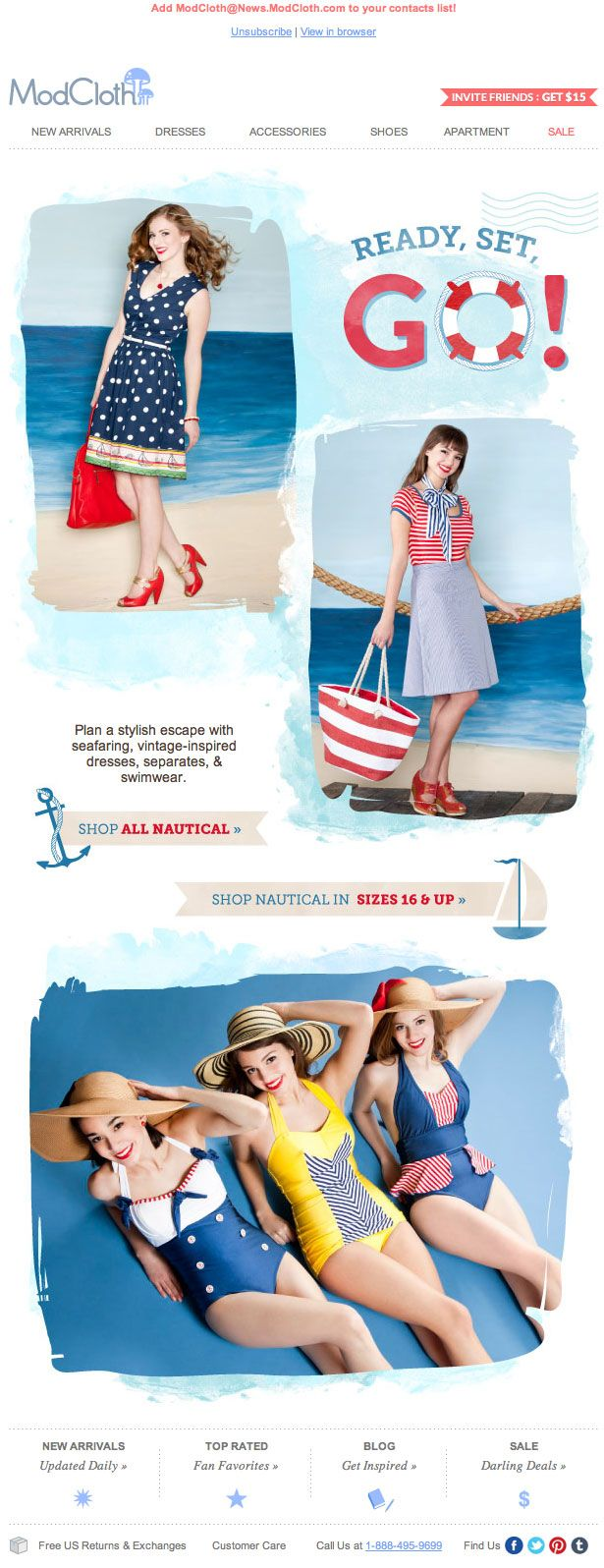 modcloth nautical summer/springtime presidents day weekend email