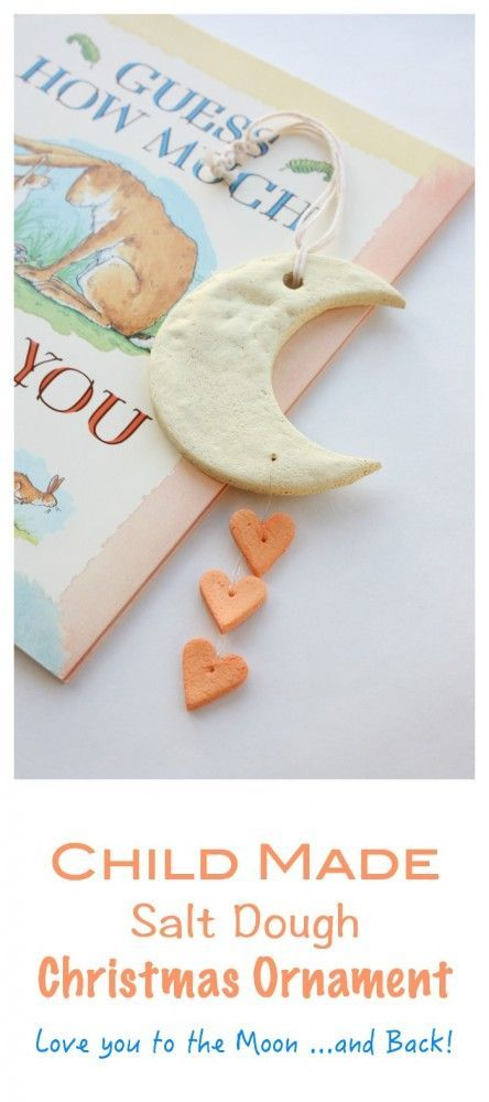 How much do I love this Ornament Love it to the moon and back - inspired by the book Guess How much I Love you, this child made ornament makes for the perfect Christmas Craft Activity and Gift!