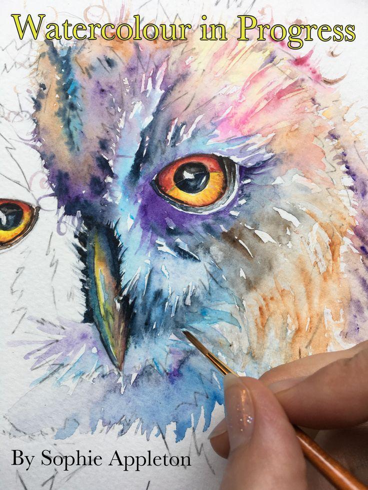 Art www.sixfootsophie.co.uk Sophie Appleton Artist owl watercolour painting