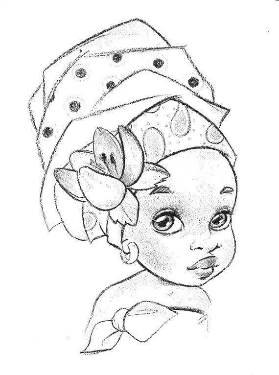 Menina Para Colorir Desenho Africano Arte Da Africa Desenho De