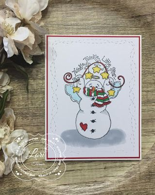"""ONECRAZYSTAMPER.COM: Twinkle, Twinkle Little Star by Lori using High Hopes Stamps """"Garland Snow Angel"""""""