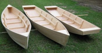 The three boats traditional to Avoyelles Parish and built by Dennis Decuir are, left to right, a pirogue, a jo boat and a jon boat.