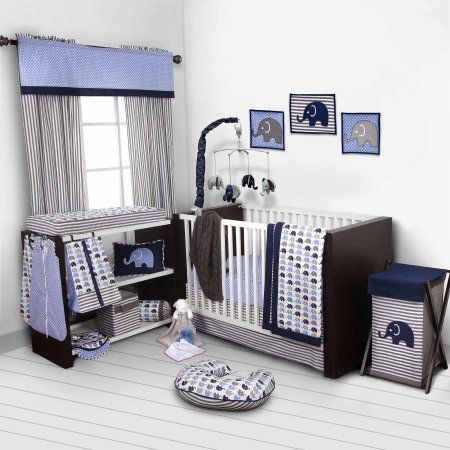 Bacati Elephants 10-Piece Nursery in a Bag Crib Bedding Set (Bumper Pad not included), Blue/Gray for US standard Cribs