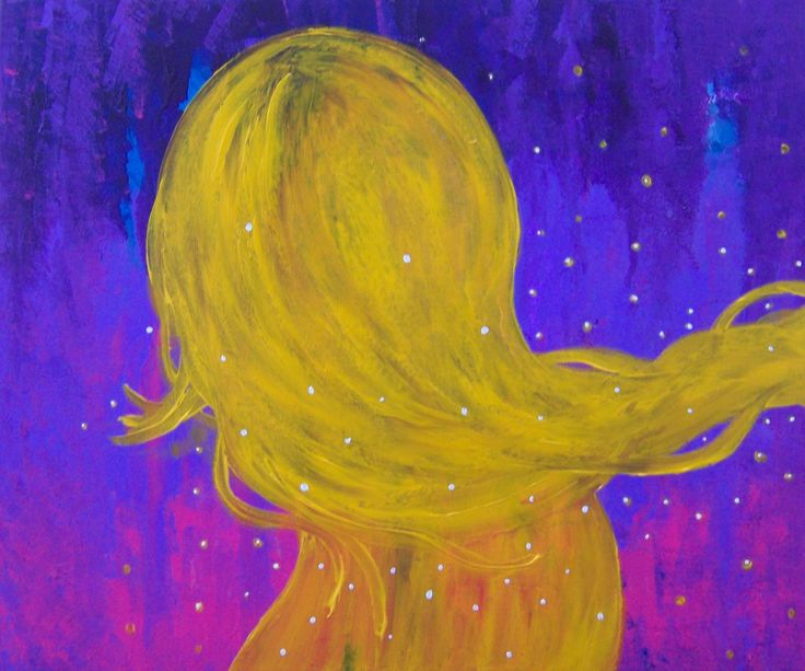 THE SCENT OF HER DRIVING ME CRAZY * painting by Lady Lu * #interior #home #woman #yellow #smell #love #obsession #ladyluartist #ladylu #art #artwork #painting